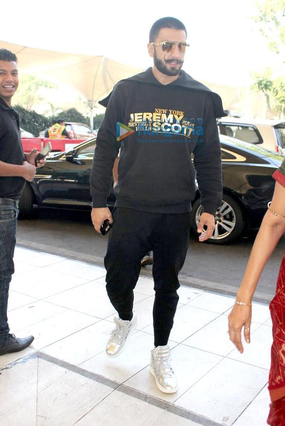 Ranveer Singh & Deepika Padukone depart for 'Bajirao Mastani' promotion