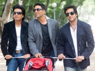 Movie Still From The Film Heyy Babyy,Riteish Deshmukh,Akshay Kumar,Fardeen Khan
