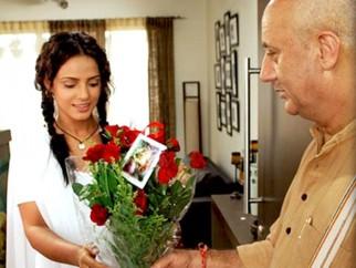Movie Still From The Film Apartment,Neetu Chandra,Anupam Kher