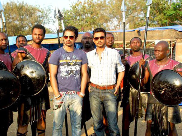 Irrfan Khan and Rannvijay Singh on the sets of MTV Roadies