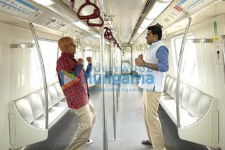 Movie Still From The Film Paa Featuring Abhishek Bachchan,Amitabh Bachchan