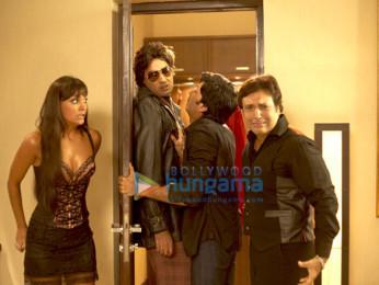 Movie Still From The Film Do Knot Disturb Featuring Lara Dutta,Ranvir Shorey,Ritesh Deshmukh,Govinda