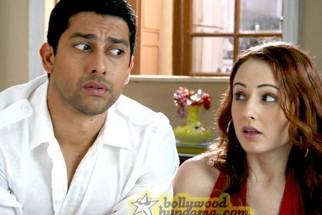 Movie Still From The Film Aloo Chaat Featuring Aftab Shivdasani,Linda Arsenio