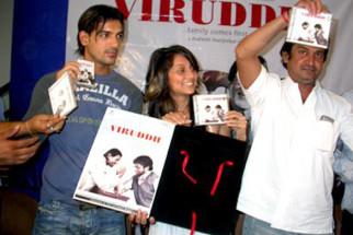 Photo Of John Abraham,Mahesh Manjrekar,Anousha Dandekar From The Audio Launch Of Viruddh