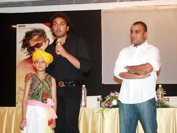 Photo Of Dwij Yadav,Bobby Deol,Samir Karnik From The Audio Launch Of Nanhe Jaisalmer