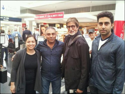 Check Out: Big B visits the Dhoom 3 gang in Chicago