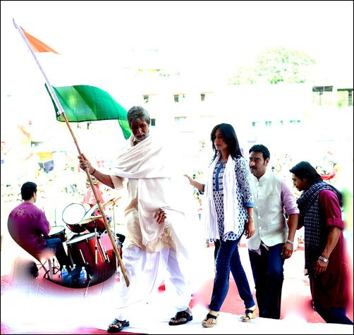 Big B choked with emotions while holding tri-colour
