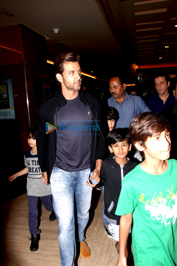 Hrithik Roshan snapped with kids post a screening of 'Inside Out'