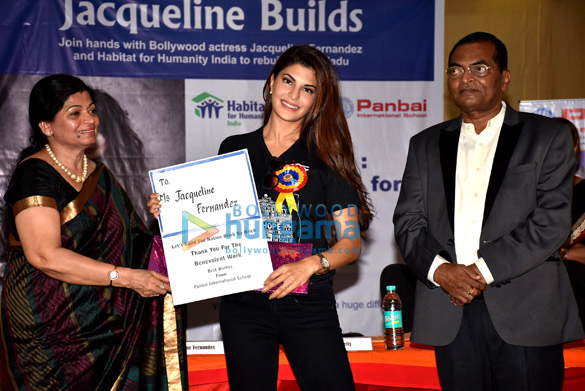 Jacqueline Fernandez meets students of Panbai International School to spread awareness about her new initiative Jacqueline Builds