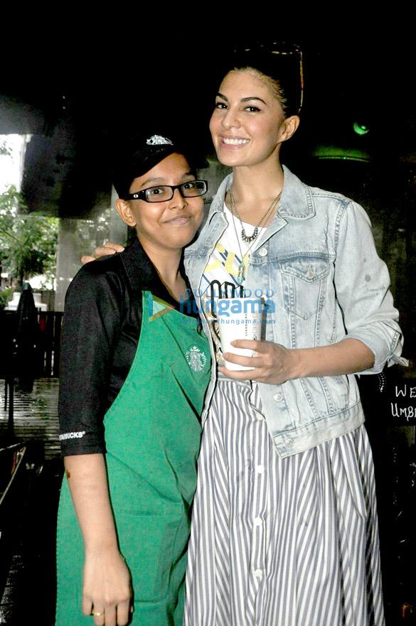 Jacqueline Fernandez snapped at Starbucks