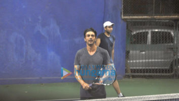 Arjun Rampal snapped playing Tennis at a Gymkhana