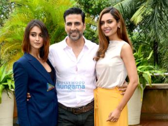 Akshay Kumar, Ileana DCruz & Esha Gupta at 'Rustom' media meet