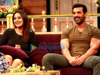 John Abraham & Sonakshi Sinha snapped on the sets of 'The Kapil Sharma Show', while promoting their upcoming film Force 2