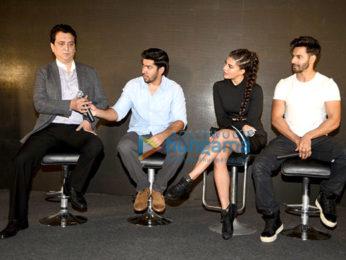 Varun Dhawan, Jacqueline Fernandez & Sajid Nadiadwala at 'Dishoom- Abu Dhabi Film Commission' media meet
