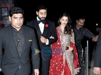 Abhishek Bachchan, Aishwarya Rai Bachchan, Esha Gupta, Huma Qureshi grace stylist Aastha Sharma's Wedding ceremony
