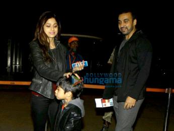 Shamita Shetty, Raj Kundra & Viaan Raj Kundra snapped at airport