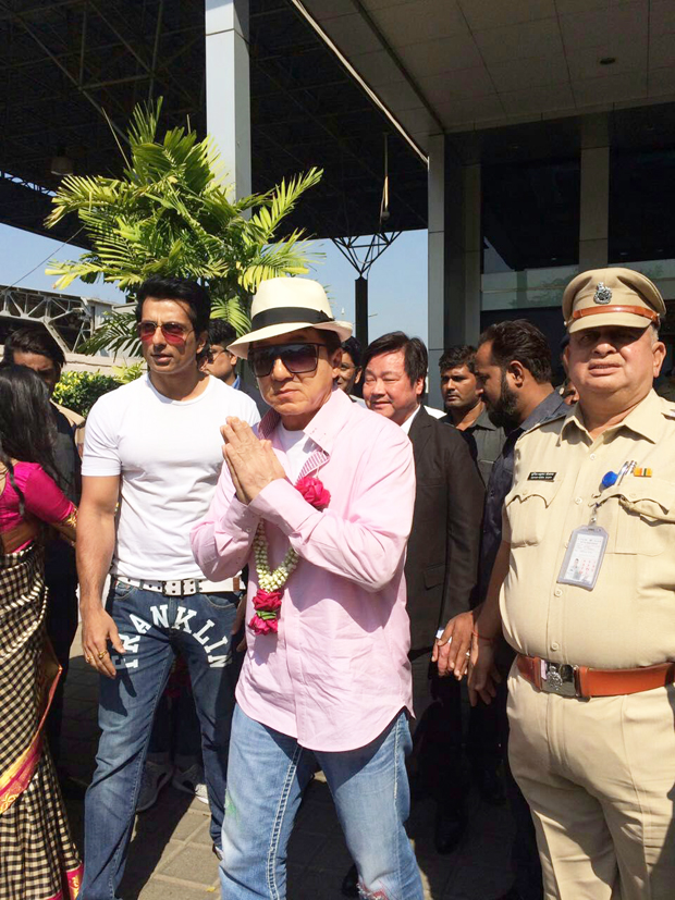 Jackie Chan arrives in Mumbai to promote his film Kung Fu Yoga-2