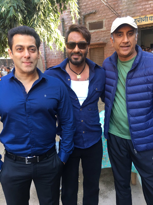 Salman Khan goes to meet Ajay Devgn on the sets of Baadshaho