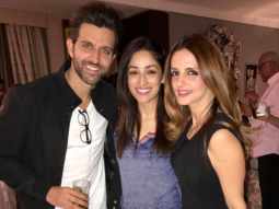 Susanne Khan poses with Hrithik Roshan celebrating the success of Kaabil-2