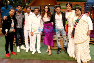 Film maker Abbas Burmawalla, Mustan Burmawalla and the cast of his film 'Machine' at 'The Kapil Sharma Show'