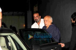 Sanjay Dutt, Mahesh Bhatt & Pooja Bhatt snapped post meeting at Vishesh Films' office