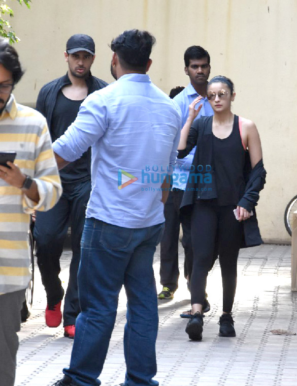 Sidharth Malhotra and Alia Bhatt snapped post meeting at Vishesh films' office