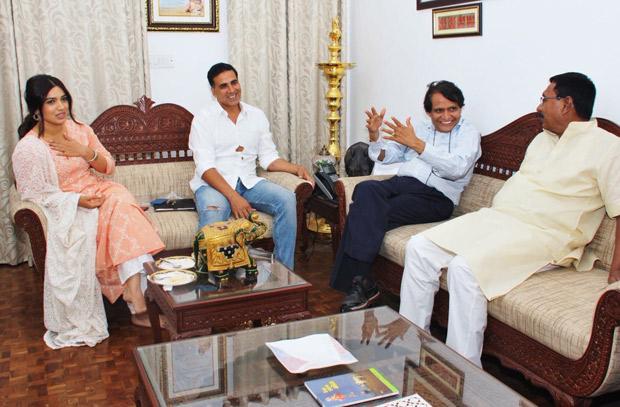 Check out: Akshay Kumar and Bhumi Pednekar meet Railway Minister Suresh Prabhu in Delhi