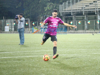 Abhishek Bachchan and Ranbir Kapoor play a friendly football match with the CISF personnels