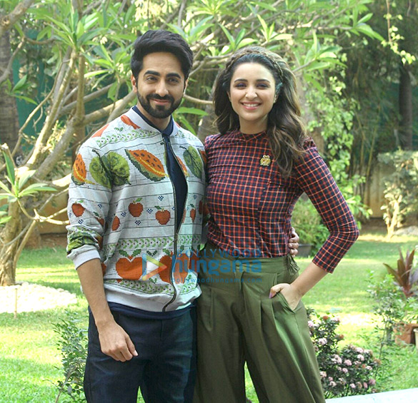 Ayushmann Khurrana and Parineeti Chopra during 'Meri Pyaari Bindu' promotions at YRF Studios