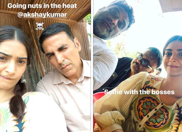 National award winners Akshay Kumar and Sonam Kapoor make goofy faces on the sets of Padman
