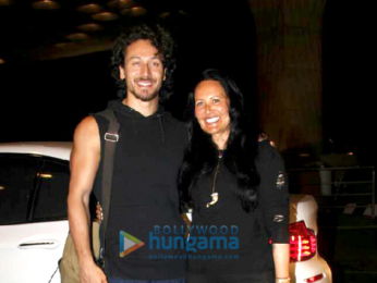 Tiger Shroff and his mother Ayesha Shroff snapped at the airport