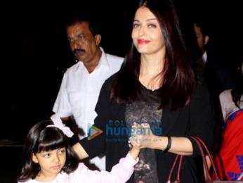 Aishwarya Rai Bachchan and her daughter Aaradhya Bachchan depart for London