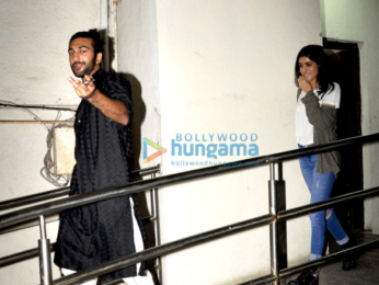 Navya Naveli snapped with a friend post after watching a movie at PVR Juhu