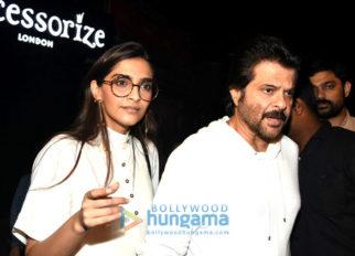 Sonam Kapoor and Anil Kapoor snapped post dinner at Bastian in Bandra