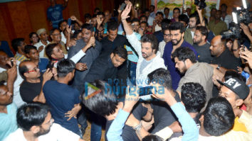 Arjun Kapoor and Anil Kapoor snapped at Gaiety-Galaxy (Bandra) during the film promotions of Mubarakan