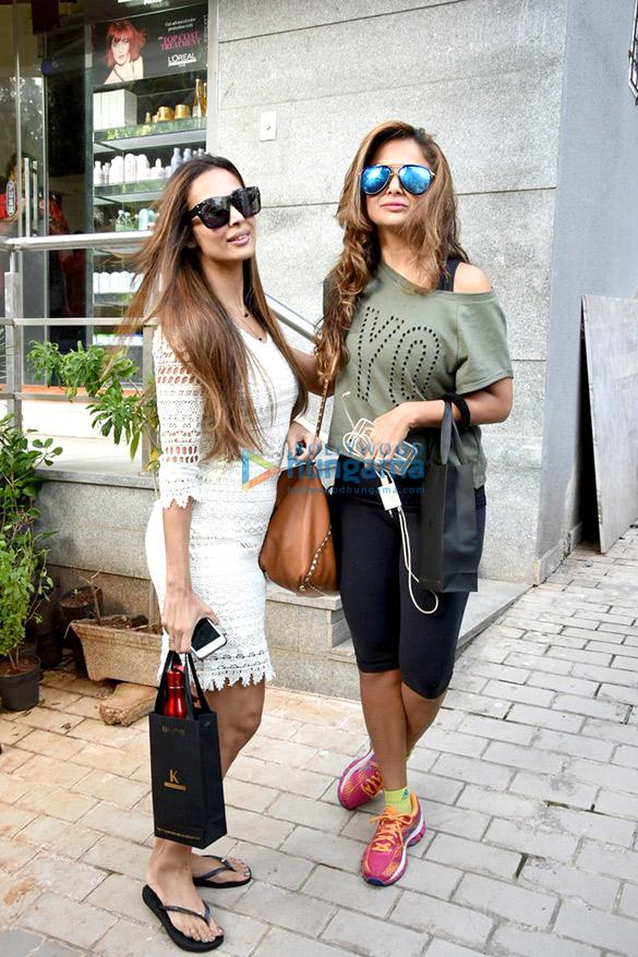 Malaika Arora Khan and Amrita Arora snapped post salon session
