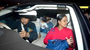 Shahid Kapoor drops in to pick up wife Mira Rajput and baby Misha at Mumbai's T2 airport