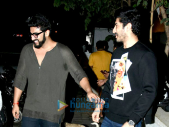 Arjun Kapoor, Mohit Marwah, Kunal Rawal and Aarti Shetty snapped post dinner in Bandra