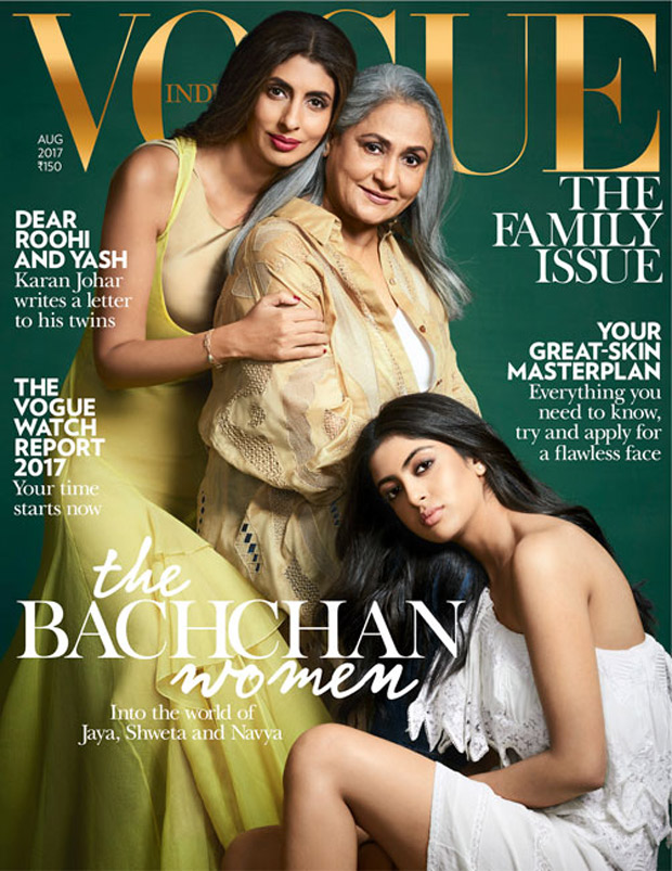 Check out Jaya Bachchan poses with daughter Shweta Bachchan Nanda and Navya Naveli Nanda on Vogue India cover
