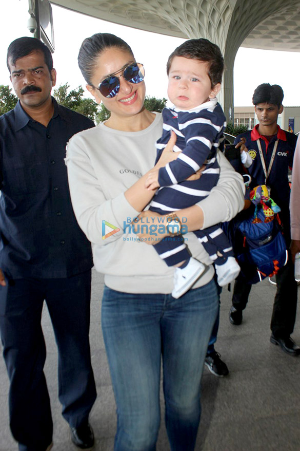 Kareena Kapoor Khan and Taimur snapped leaving for Delhi to shoot for Veere Di Wedding