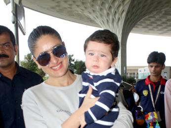 Kareena Kapoor Khan and Taimur snapped leaving for Delhi to shoot for Veere Di Wedding