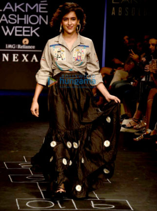 Sanya Malhotra walks the ramp for The Miraki Project at Lakme Fashion Week 2017