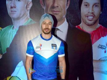Tiger Shroff and Sunny Leone at the launch of 'Premier Futsal Season 2'