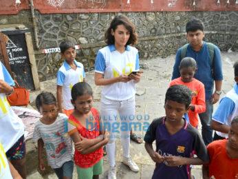 Mandana Karimi snapped with underprivileged kids in Bandra