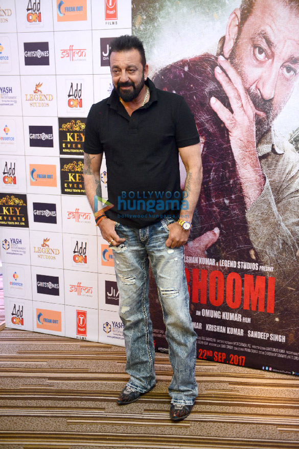 Cast of the film Bhoomi grace the press meet of the film in Delhi