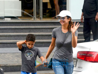 Amrita Arora snapped with her son at a salon