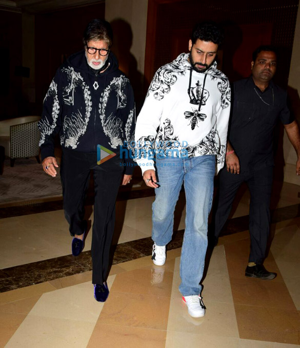 Amitabh Bachchan and Abhishek Bachchan snapped while having dinner with family-