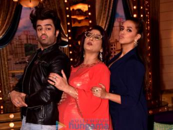 Manish Paul and Neha Dhupia snapped on the sets of the show 'Aunty Boli Lagao Boli'
