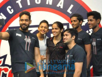 Saina Nehwal graces the launch of Rakul Preet's fitness studio F45 in Hyderabad