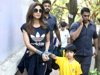 Shilpa Shetty snapped with her son Viaan in Juhu